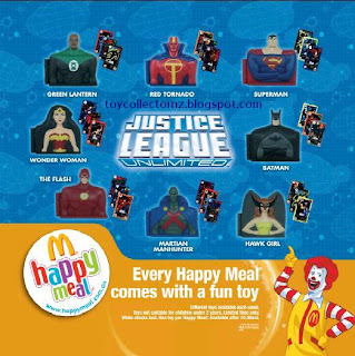 McDonalds Justice League Unlimited Toys - Set of 8 - 2009 - Australia and New Zealand Release