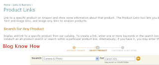 Add Amazon Product Links to Blogger Tutorial - Search for Desired Product