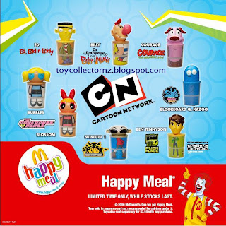 McDonalds Cartoon Network 2009 Promotion - Set of 8 -Ben Tennyson - Ben 10 Alien Force, Blossom - The Powerpuff Girls, Bubbles - The Powerpuff Girls, Courage - The Cowardly Dog, Ed - Ed, Edd n Eddy, Billy - The Grim Adventures of Billy Mandy, Numbuh 1 - Codename: Kids Next Door, Blooregard Q. Kazoo - Foster's Home of Imaginary Friends