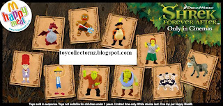 McDonalds Shrek Forever After Toys - Australia and New Zealand Happy Meal Toy Release - 10 toys: Brogan, Shrek, Princess Fiona, Donkey, Dragon, Gingy, Three Little Pigs, Little Wooden Puppet, Rumpelstiltskin, Puss in Boots