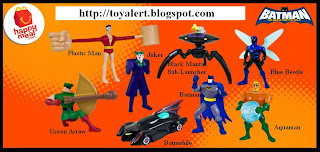 McDonalds Batman The Brave and the Bold Toys 2010 - Set of 8 - Batman, Batmobile, Aquaman, Plastic Man, Black Manta Sub-Launcher, Green Arrow, Blue Beetle, the Joker