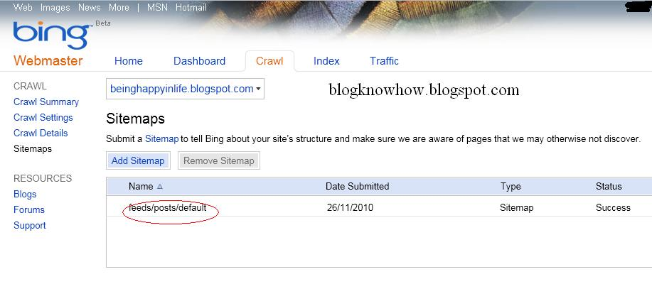 Add a Blogger Sitemap to MSN Bing Webmaster Tools | Blog ...
