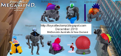 McDonalds Megamind Happy Meal toys - NZ and Australia release - Set of 8 toys - Megamind, Light Brainbot, Snapper Brainbot, Minion, Mirror Bot, Tighten, Bulldog Brainbot, Roxanne