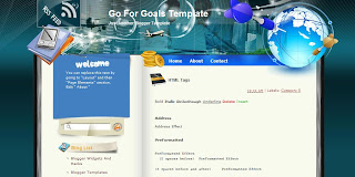 Go for Goals - Free Blogger Template - 2 columns, left sidebar, fixed width, white, blue, social bookmarking,  personal blog, travel blog