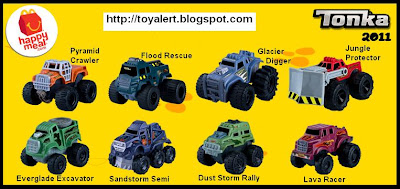 McDonalds Tonka Happy Meal toys 2011 - Pyramid Crawler, Flood Rescue, Glacier Digger, Jungle Protector, Everglade Excavator, Sandstorm Semi, Dust Storm Rally, Lava Racer