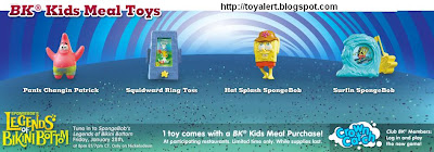 Spongebob's Legends of Bikini Bottom kids meal toys - US release - 6 toys -  Pants Changing Patrick, Squidward Ring Toss, Hat Splash SpongeBob, Surfing SpongeBob
