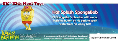 Spongebob's Legends of Bikini Bottom kids meal toys - Hat Splash SpongeBob