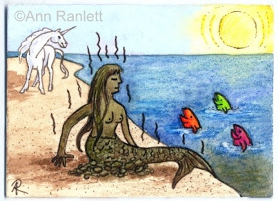 Manure Maid - mixed media ACEO by Ann Ranlett