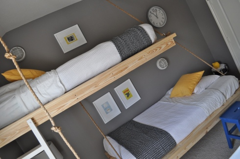 Creative ideas for you free hanging bed plans for a for Suspended bed plans