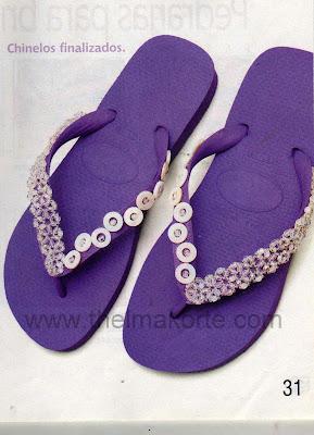 chinelos bordados com cristais e madrepérolas