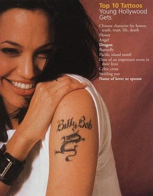 The cross tattoo that Angelina got before her wedding to Johnny Lee Miller,