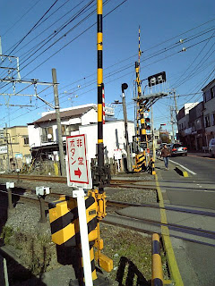 lifting gate on the railroad crossing