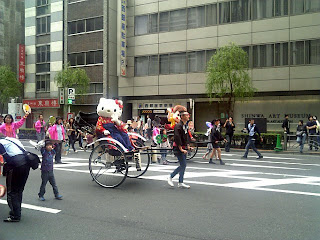 Hello Kitty in the parade of Ginza Yanagi Matsuri