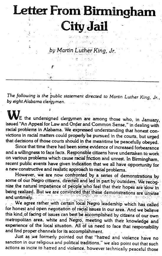 summary martin luther king letter Letter from birmingham jail study guide contains a biography of martin luther king, jr, literature essays, quiz questions, major themes, characters, and a.