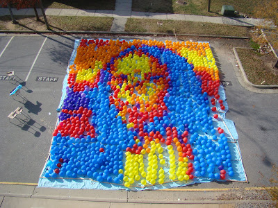 balloon mosaic mona lisa