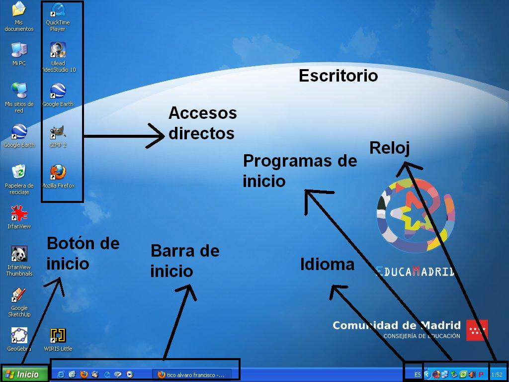 Trabajos de informatica windows for Que es el fondo de escritorio
