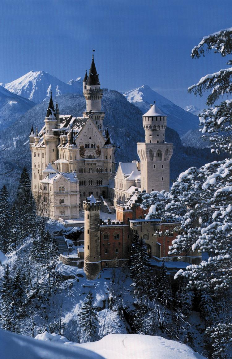 """castle neuschwanenstein King ludwig ii said """"i intend to rebuild the old castle ruins of hohenschwangau by the pollat gorge in the genuine style of the old german knightly fortresses."""