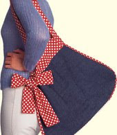 Denim Bag with Polka Dot Bow