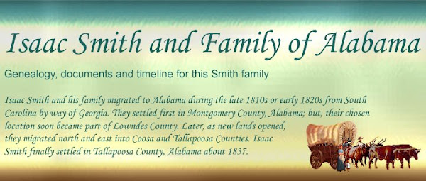 Isaac Smith and Family of Alabama: Genealogy, documents and timeline for this Smith family