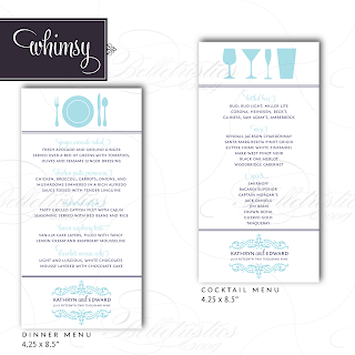 whimsy modern flourish menu dinner cocktail design