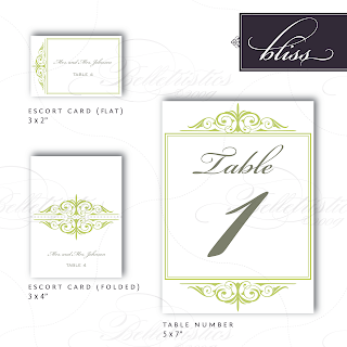 bliss flourish wedding table number escort card