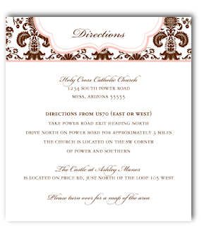 custom damask wedding invitation inserts
