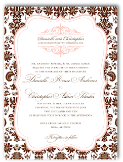 custom damask wedding invitation design