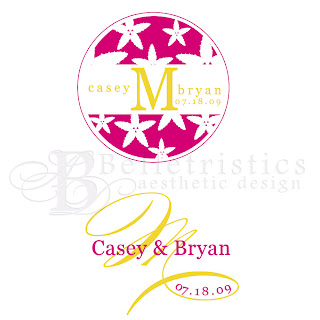 starfish wedding monogram logo pink yellow