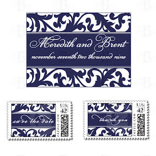 navy floral monogram custom zazzle postage