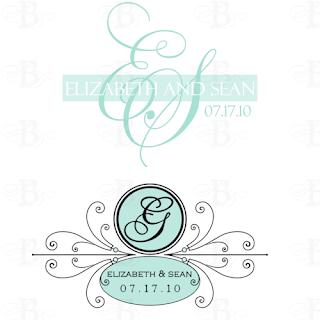 tiffany blue wedding monogram design