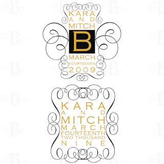 wedding monogram design scroll black gold