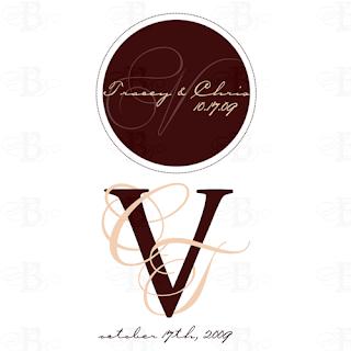 wedding monogram design sale brown pink