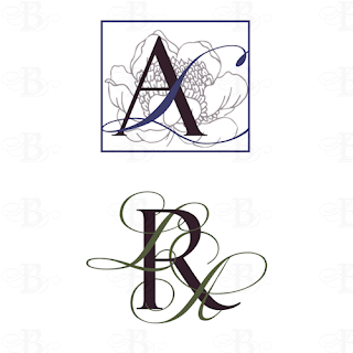 monogram design logo wedding brown blue