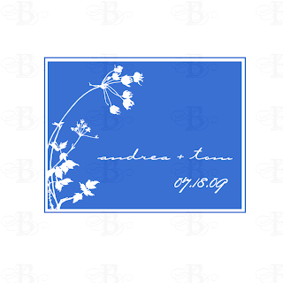 custom wedding monogram logo blue poppy poppies