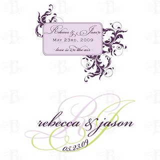 custom wedding monogram logo design purple flourish