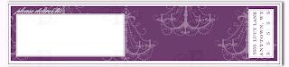 wrap around address label chandelier purple