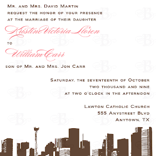 custom wedding invitation design houston skyline brown pink