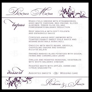 dinner menu card design purple flourish