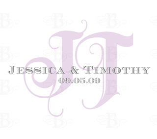 wedding monogram design lavender gray