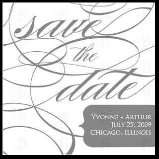 custom save the date design gray white