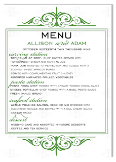 wedding dinner menu card design