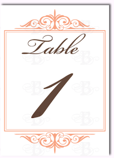 decorative table number wedding monogram  design