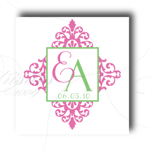 damask wedding monogram logo