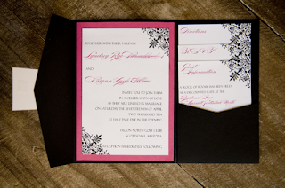 custom damask pocket fold wedding invitation design
