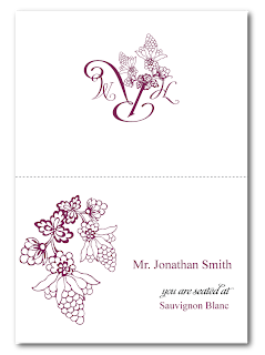 custom grape vineyard wedding escort card design