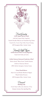 custom grape vineyard wedding menu design