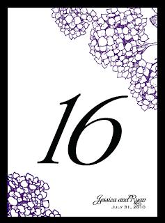 custom purple black printable table number card hydrangea