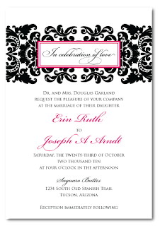 diy custom damask wedding invitation design
