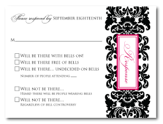 custom damask rsvp card bells