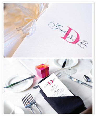 real weddings monogram program cover menu card